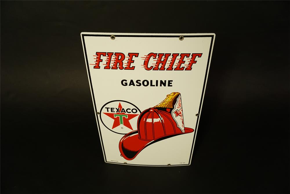 Sharp NOS 1962 Texaco Fire Chief Gasoline single-sided porcelain pump plate sign with Fire Chief helmet logo. - Front 3/4 - 191465