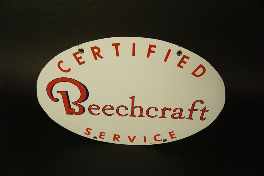 Rare 1950s Beechcraft Aviation Certified Service double-side porcelain airport maintenance hanger sign. - Front 3/4 - 191466