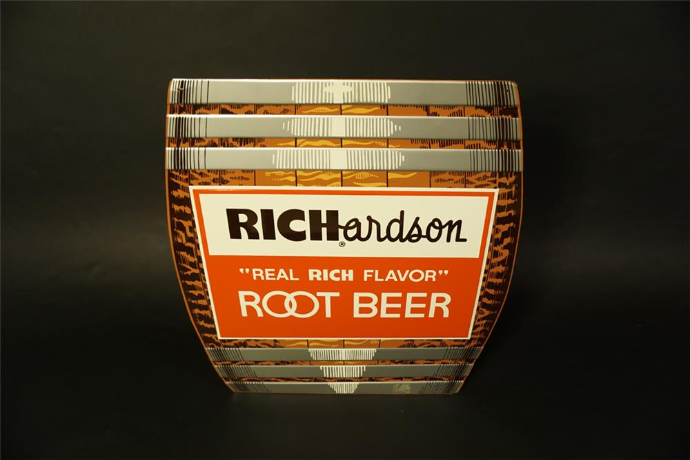 Highly desirable 1950s Richardson Root Beer single-sided die-cut barrel shaped tin diner sign - Front 3/4 - 191467