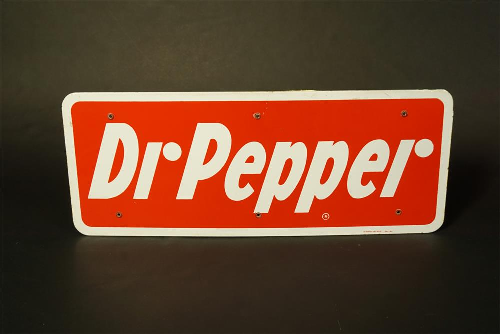 Choice 1950s Dr. Pepper Soda single-sided porcelain cooler sign. - Front 3/4 - 191470