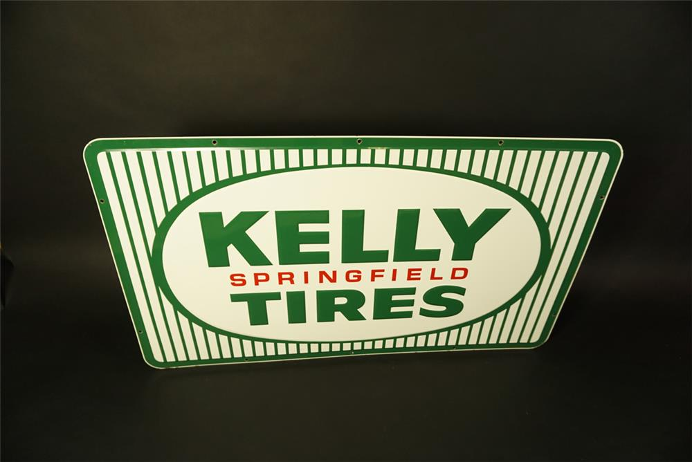 Large NOS Kelly Springfield Tires single-sided embossed tin automotive garage