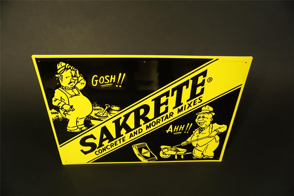 NOS early 1960s Sakrete Concrete and Mortar Mixes single-sided tin sign with