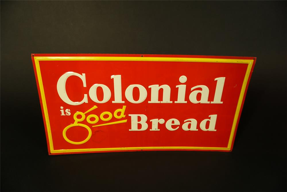 Sharp NOS 1950s Colonial is Good Bread single-sided embossed tin sign. - Front 3/4 - 191504