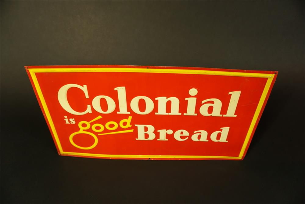 Fantastic NOS 1950s Colonial is Good Bread single-sided embossed tin sign. - Front 3/4 - 191505
