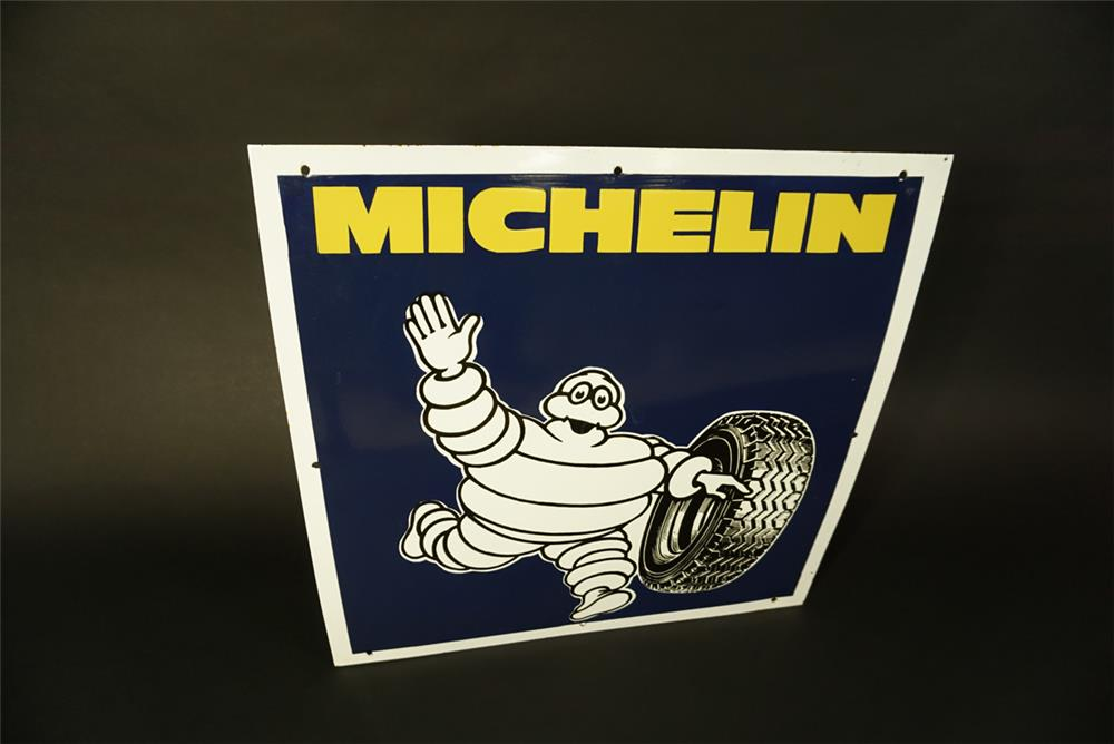 Choice Michelin Tires porcelain sign featuring Bibendum (Michelin Man) graphic