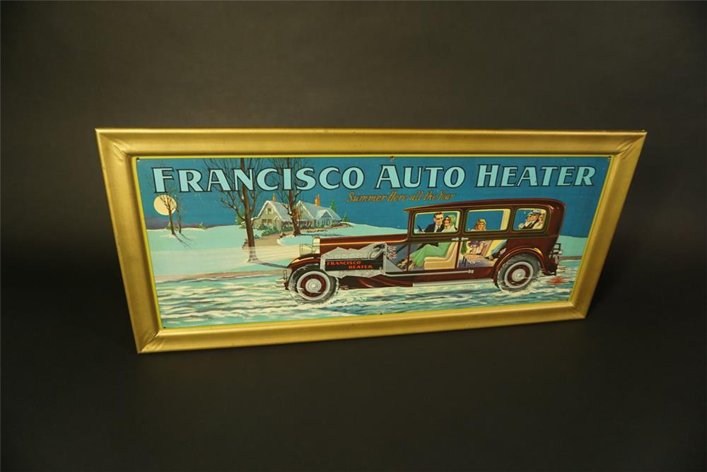 Superlative late 1920s Francisco Auto Heater single-sided self-framed tin litho