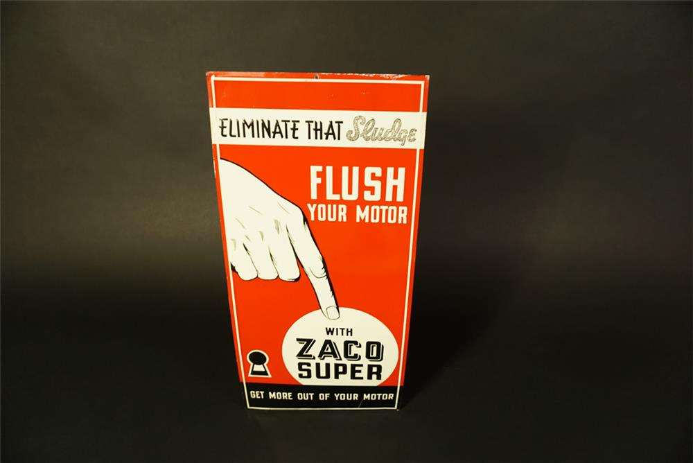 NOS 1930s Zaco Motor Super Flush single-sided tin automotive garage sign. - Front 3/4 - 191514