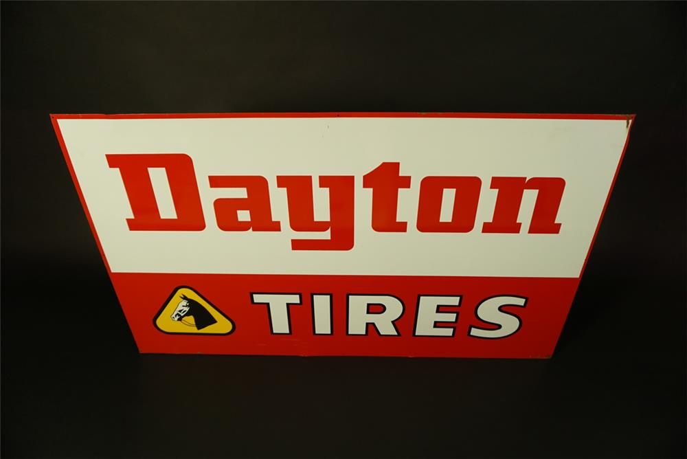 Large 1960s Dayton Thorobred Tires single-sided tin automotive garage sign