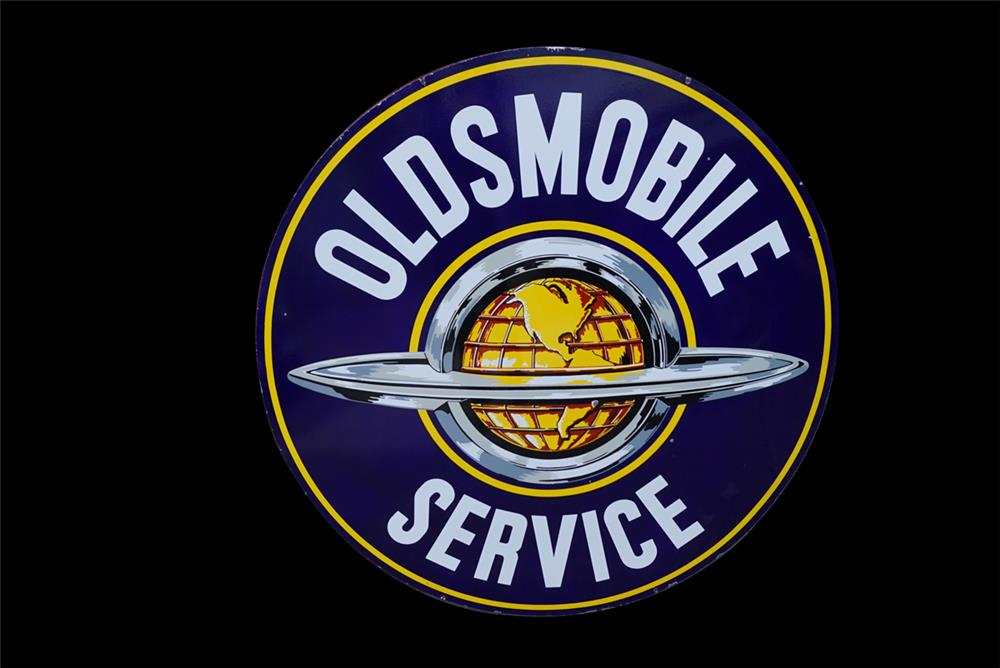 Beautiful 1950s Oldsmobile Service double-sided porcelain dealership sign with