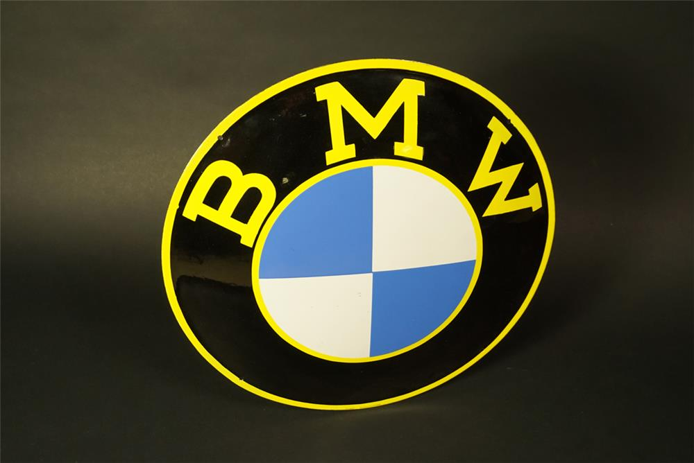 Exceptional 1950s BMW single-sided porcelain dealership sign with period logo. - Front 3/4 - 191522