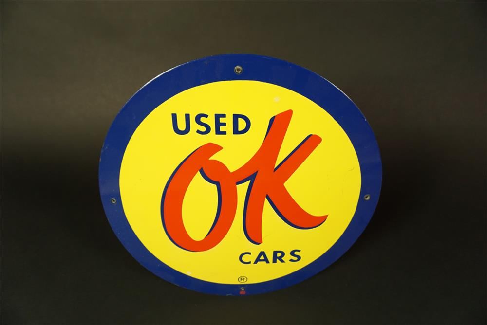 Very desirable 1950s Chevrolet OK Used Cars single-sided porcelain dealership