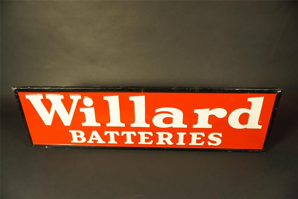 Sharp 1940 Willard Batteries single-sided tin with wood frame automotive