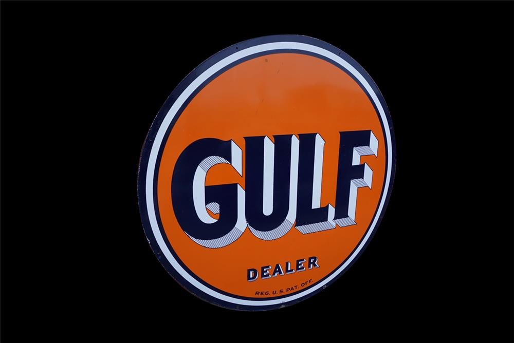 Magnificent large 1940s Gulf Oil Dealer double-sided porcelain service station
