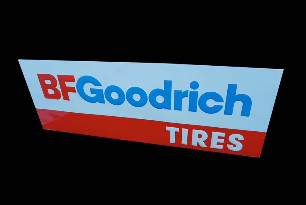 NOS large vintage BFGoodrich Tires single-sided wood-framed tin automotive garage sign. - Front 3/4 - 191537