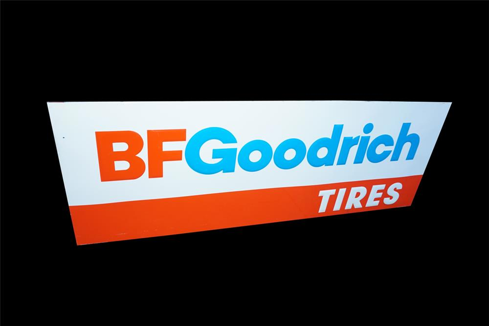 NOS large vintage BG Goodrich Tires single-sided wood framed tin automotive garage sign. - Front 3/4 - 191538