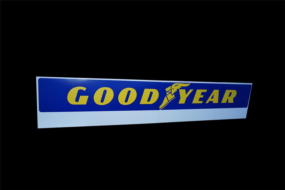 NOS large Goodyear Tires two-piece wood-framed tin automotive garage sign with winged foot logo. - Front 3/4 - 191541