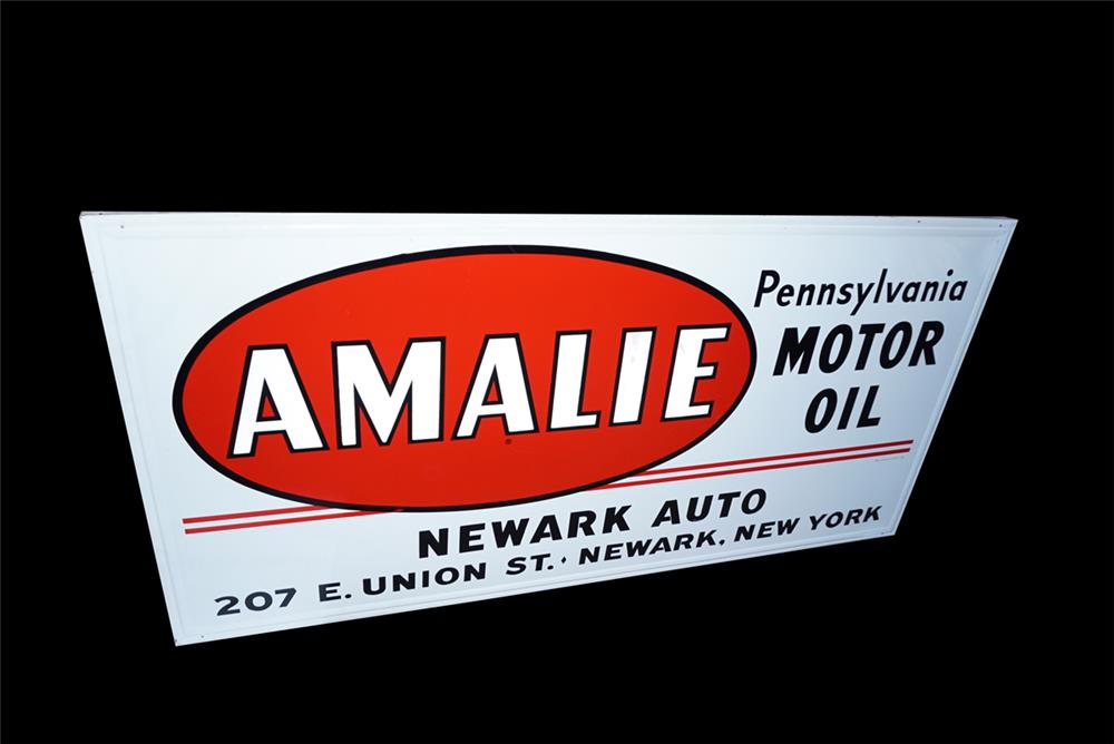NOS Amalie Motor Oil single-sided wood framed tin automotive garage sign - Front 3/4 - 191542