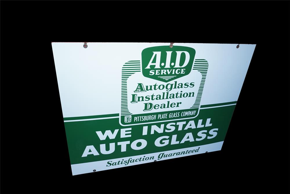 NOS circa late 1950s-early 60s Autoglass Installation Dealer double-sided porcelain automotive garage sign. - Front 3/4 - 191543