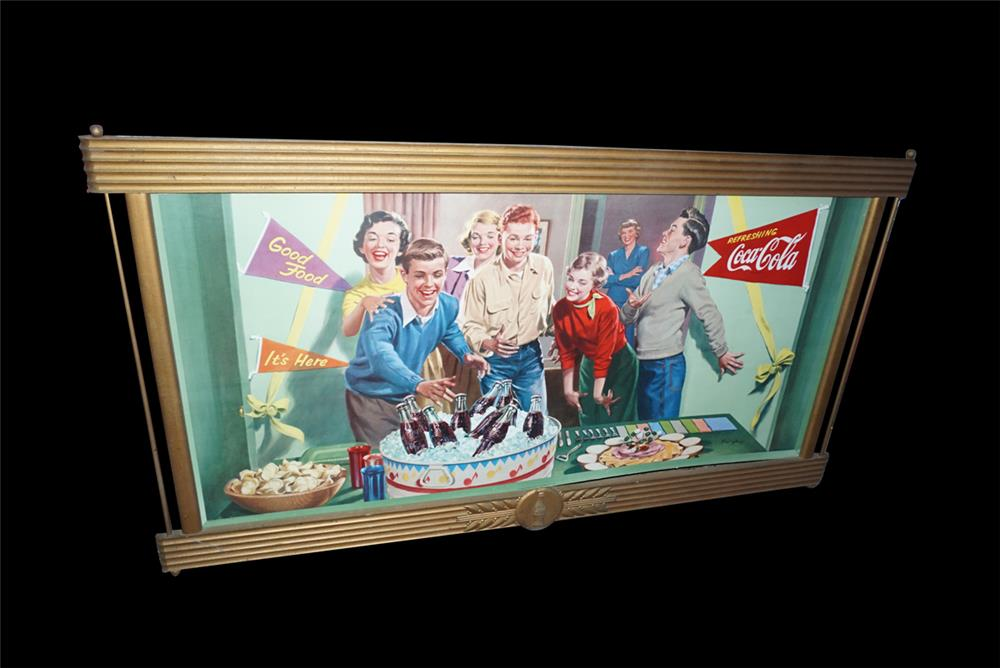 Nifty 1952 Coca-Cola Refreshing teenage party scene soda fountain cardboard display sign still in the original wooden Coca-Cola frame. - Front 3/4 - 191544