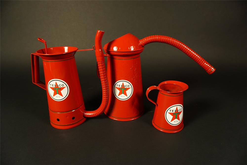 Lot of three circa 1930s-40s restored Texaco Oil service deparment handy oilers. - Front 3/4 - 191560