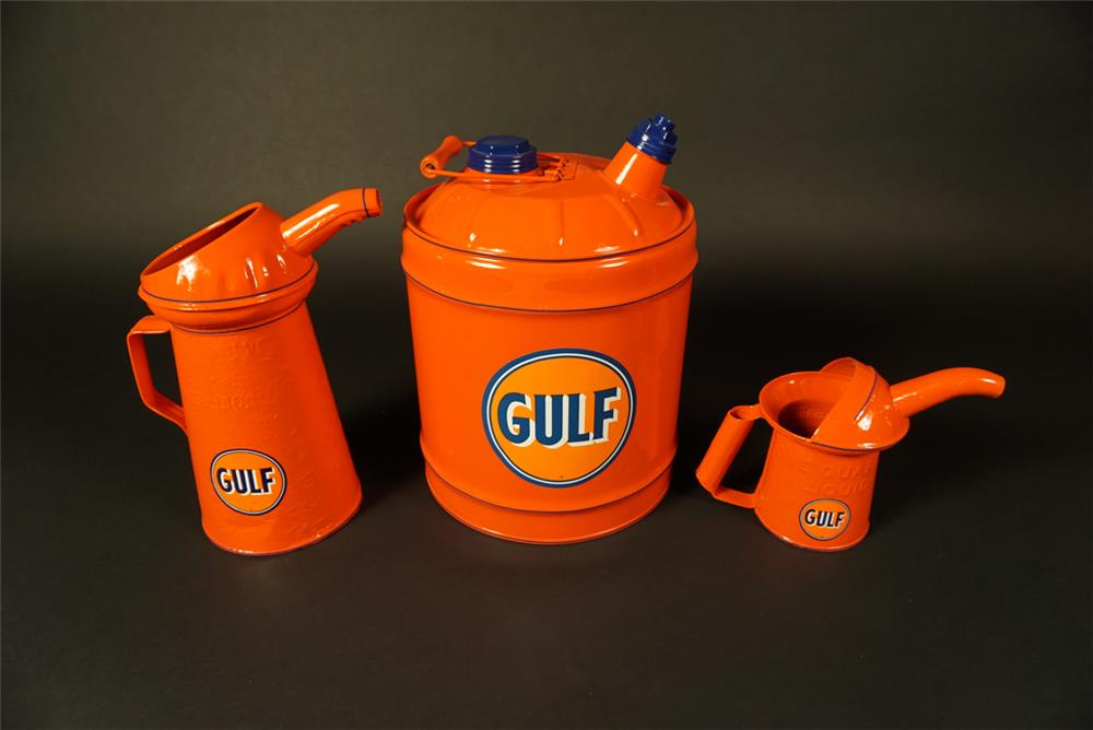 Lot of three vintage 1930s Gulf Oil restored service department handy oilers. - Front 3/4 - 191564