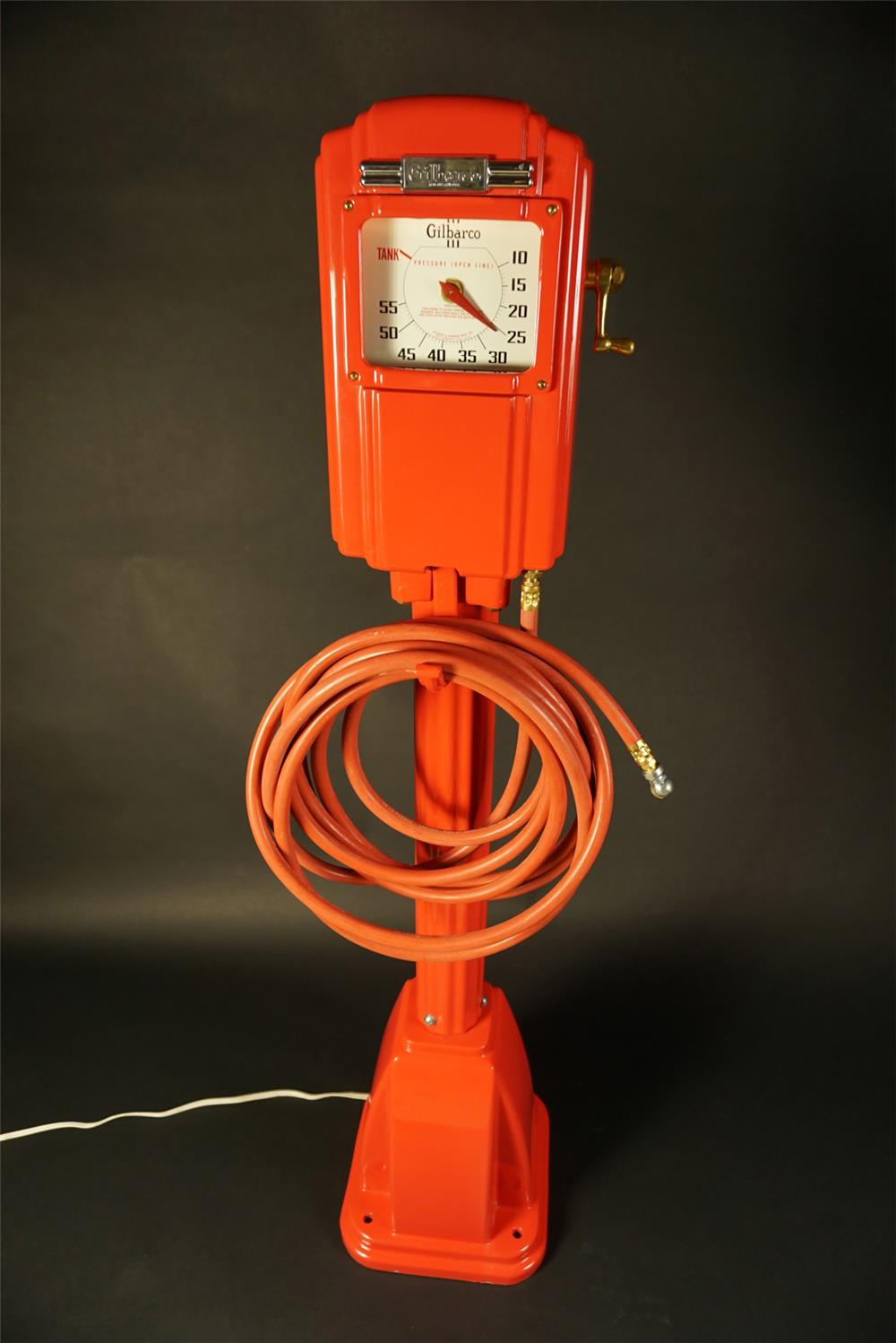 Stunning 1930s restored Gilbarco filling station air meter with art deco styling. - Front 3/4 - 191565