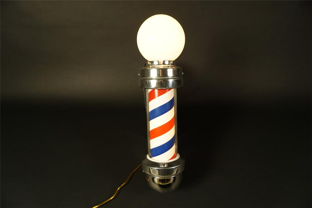 Sharp 1950s Marvy model #410 lighted barber pole with reflective shield. - Front 3/4 - 191566