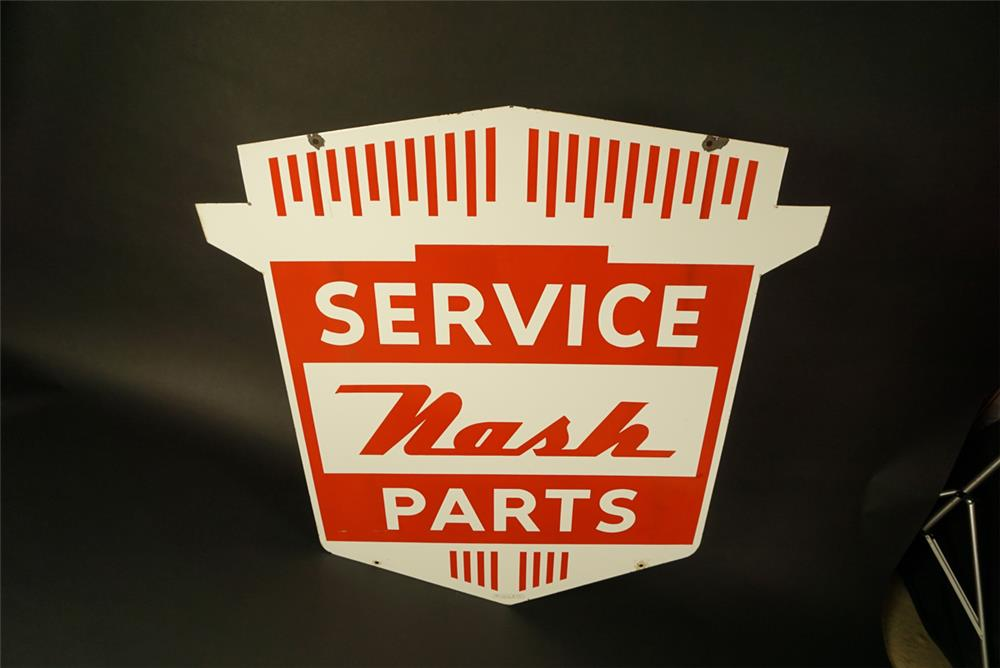 Outstanding late 1940s-early 50s Nash Service - Parts double-sided die-cut porcelain dealership sign. - Front 3/4 - 191567