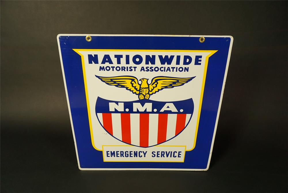 NOS nationwide Motorist Association double-sided tin automotive garage sign. - Front 3/4 - 191568