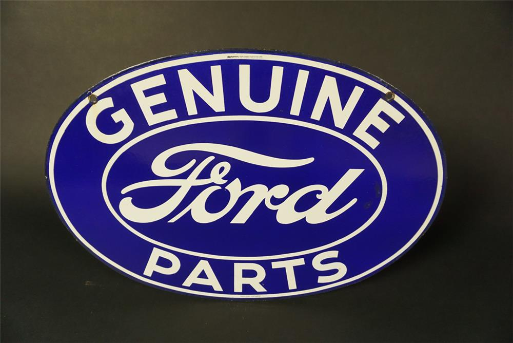 Fabulous 1930s Ford Genuine Parts double-sided porcelain dealership sign. Wonderful cobalt blue porcelain. - Front 3/4 - 191569