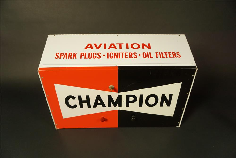 Sharp early 1960s Champion Aviation Spark Plugs airport maintenance hanger display cabinet. - Front 3/4 - 191570