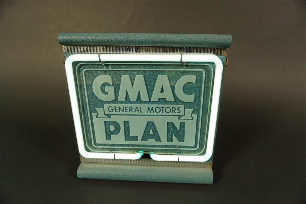 Very clean 1930s General Motors GMAC Plan countertop showroom sales etched glass faced neon sign. - Front 3/4 - 191574