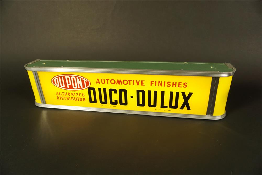 Stunning circa 1940s-50s Dupont Duco-Dulux Automotive Finishes service department glass faced light-up countertop sign. - Front 3/4 - 191578