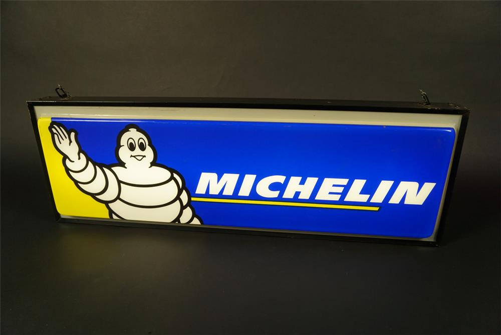 Fantastic Michelin Tires double-sided light-up garage sign with Bidendum (Michelin Man) graphics. - Front 3/4 - 191581