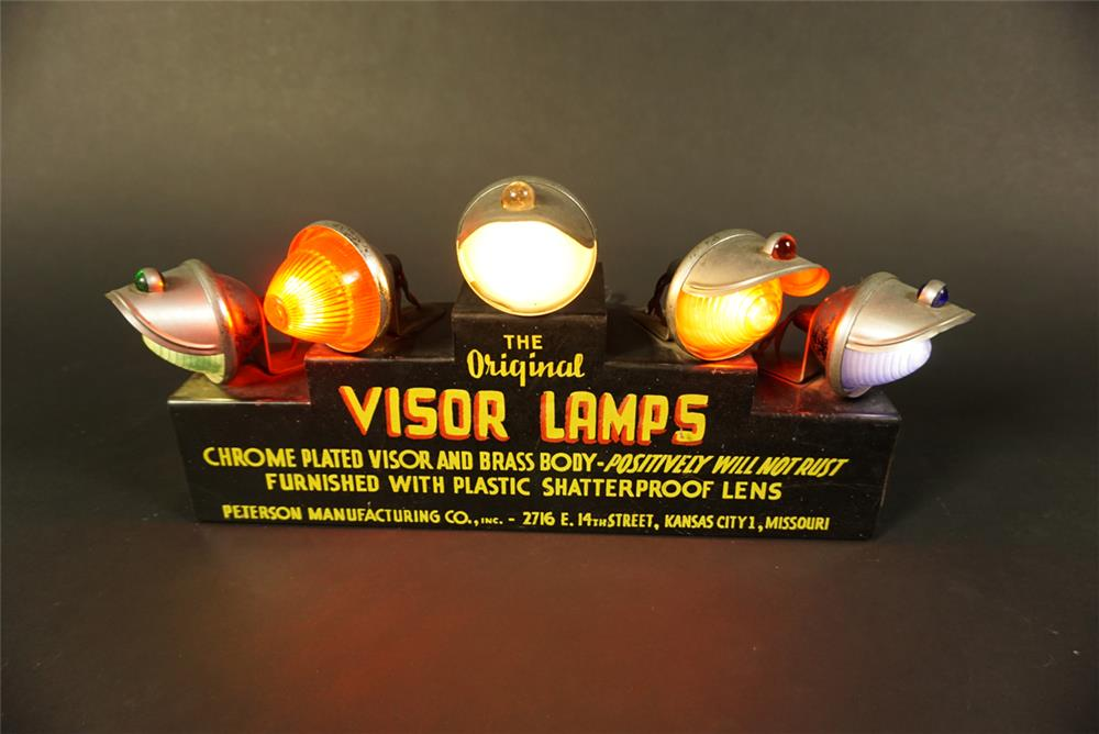 Choice 1930s Visor Lamps light-up countertop sign found in all original condition. - Front 3/4 - 191584