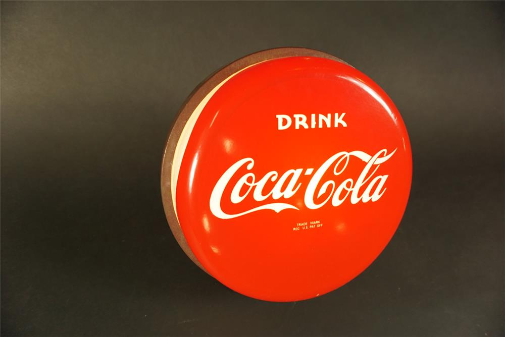 Nifty all original late 1950s-early 1960s Drink Coca-Cola light-up countertop soda fountain sign. - Front 3/4 - 191585