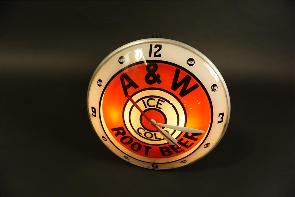 Hard to find 1950s A&W Root Beer glass faced double bubble light-up drive-in clock. - Front 3/4 - 191586