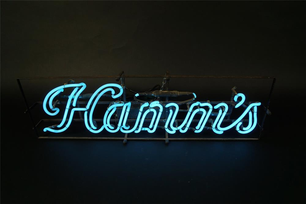 Terrific 1950s Hamm's Beer lighted script logo neon tavern sign. - Front 3/4 - 191591