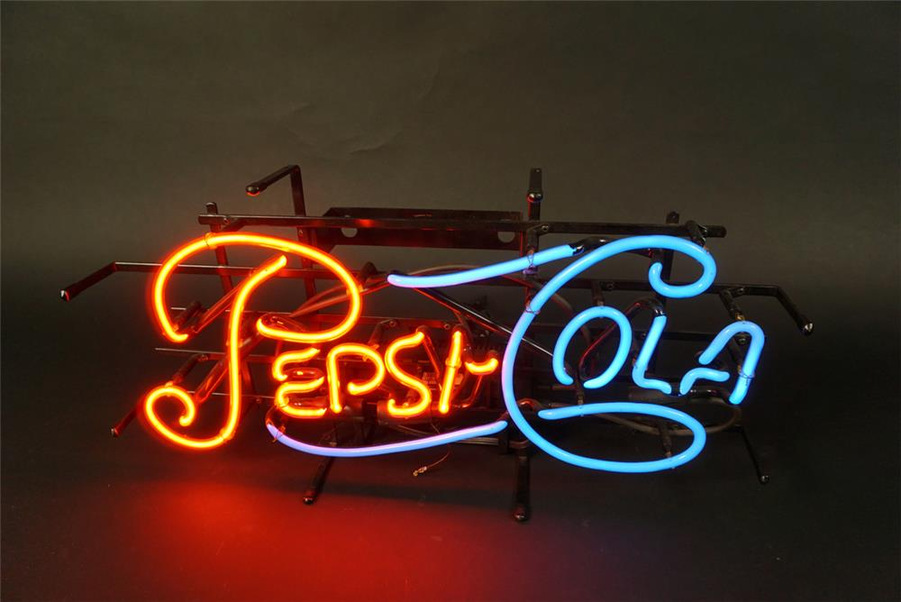 NOS newer Pepsi-Cola soda fountain neon single-dot script sign. - Front 3/4 - 191596