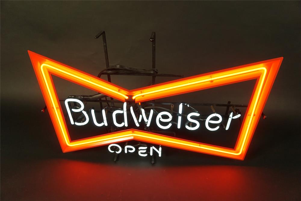 "Very clean NOS Budweiser ""Open"" neon tavern sign. - Front 3/4 - 191597"
