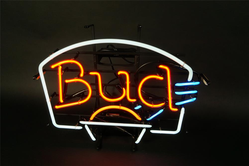 "Seldom seen Budweiser Beer ""Bud"" basketball themed neon tavern sign. - Front 3/4 - 191599"