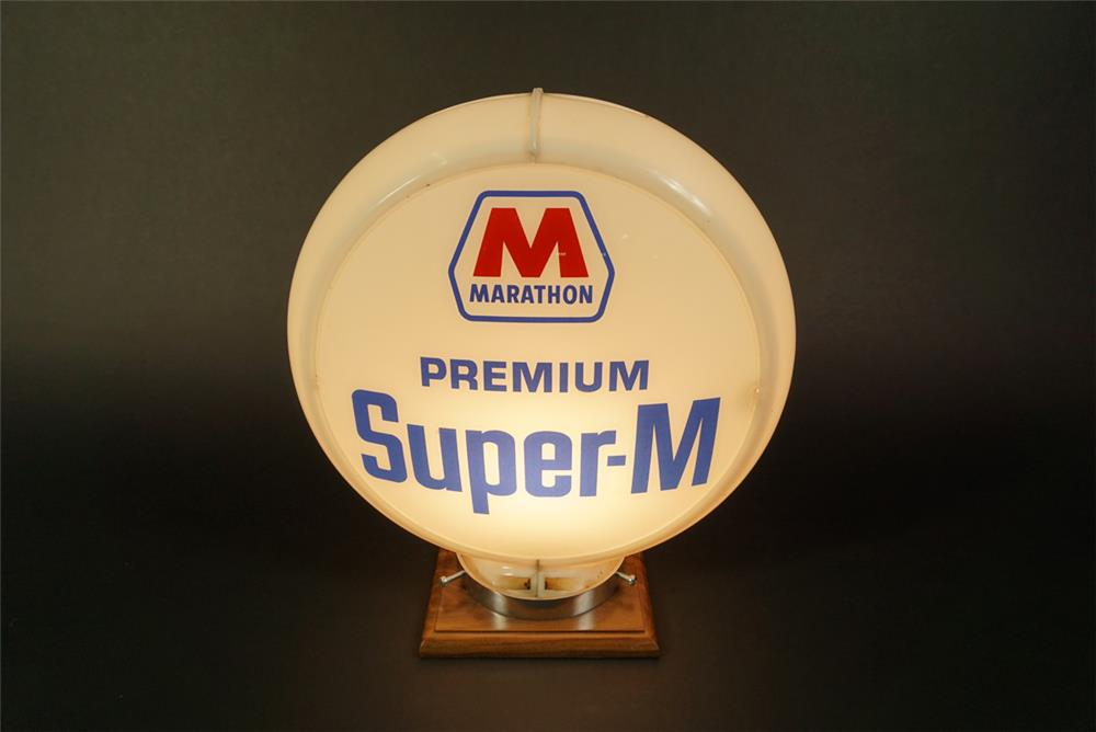 Late 1950s-early 60s Marathon Premium Super M gas pump globe in a Capcolite body. - Front 3/4 - 191611
