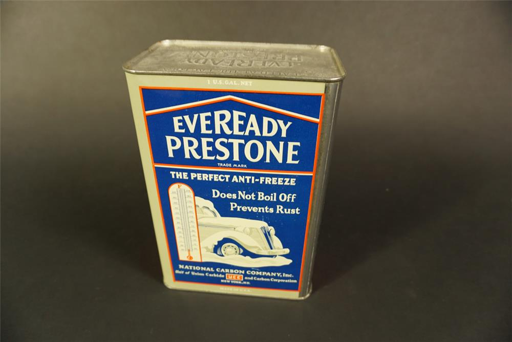 1930s Eveready Prestone Anti-Freeze one gallon tin with period automobile graphics. - Front 3/4 - 191618