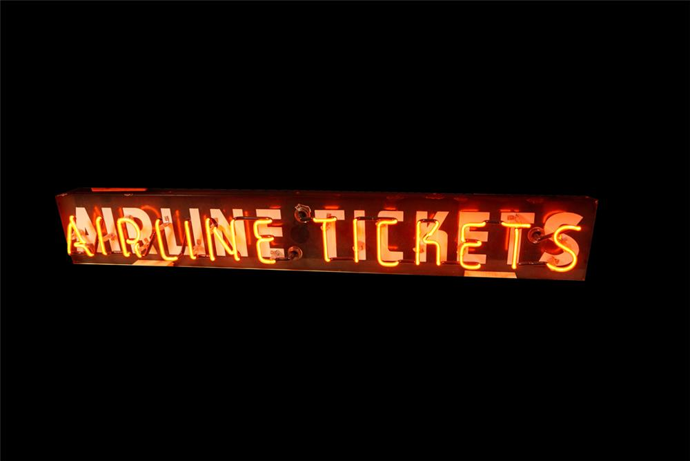 Very uncommon 1940s Airline Tickets neon porcelain airport terminal sign. - Front 3/4 - 191621