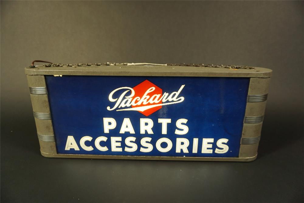 Rare 1930s-40s all original Packard Parts Accessories glass faced light-up service department sign. - Front 3/4 - 191622