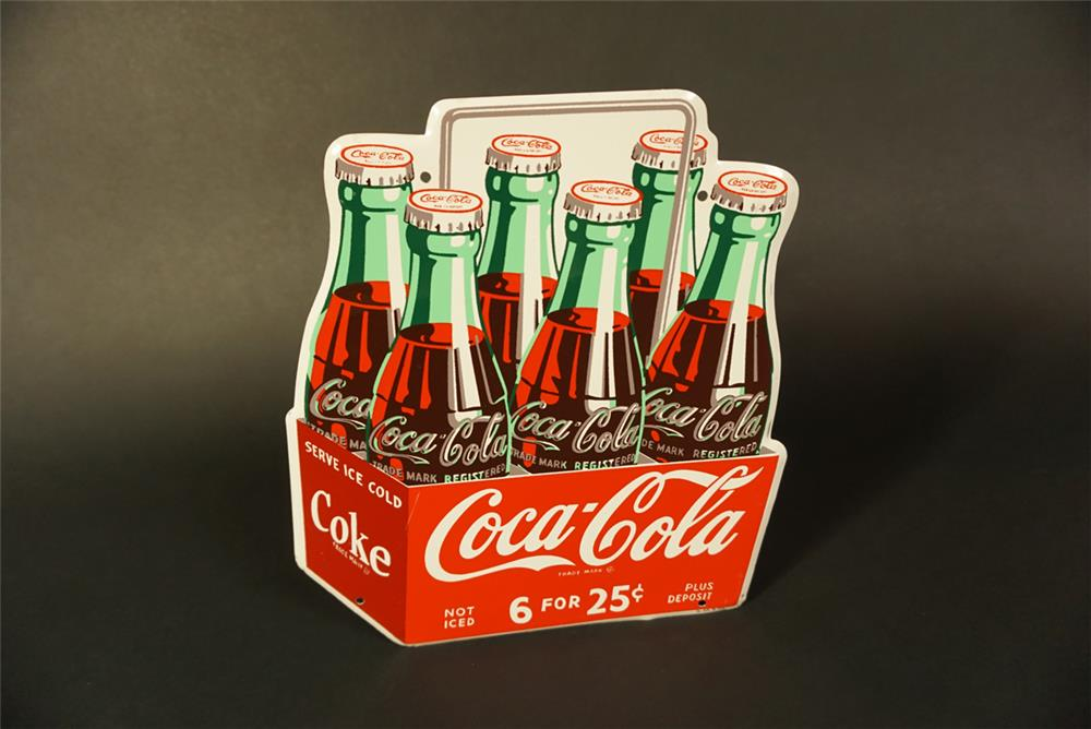 Rare 1950 NOS Coca-Cola die-cut tin six-pack sign with handle. - Front 3/4 - 191627