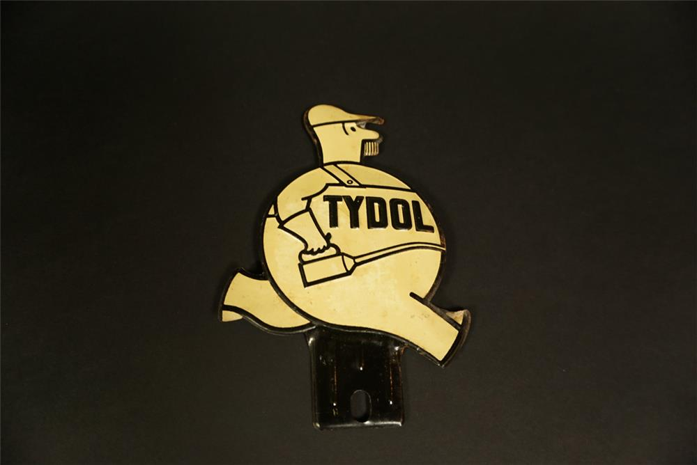 Neat NOS 1930s Tydol Oil die-cut tin license plate attachment sign. - Front 3/4 - 191631