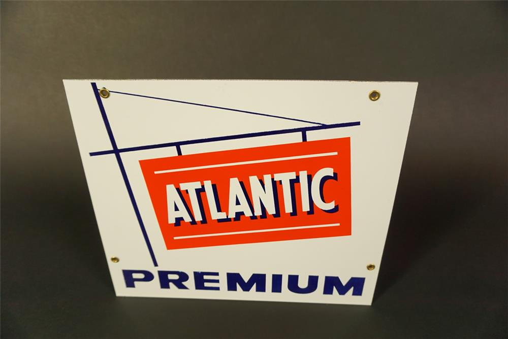 1950s Atlantic Premium Gasoline single-sided porcelain pump plate sign. - Front 3/4 - 191634