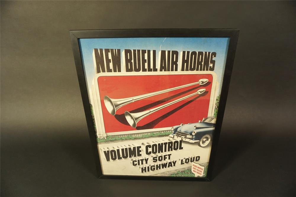 Very cool 1950s Buell Air Horns service station cardboard with outstanding graphics and colors. - Front 3/4 - 191635