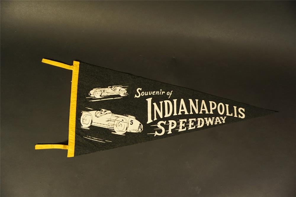 Wonderful 1940s Indianapolis Speedway souvenir pennant with period racing graphics. - Front 3/4 - 191654